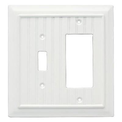 White Single Toggle / Single Decorator GFCI Plate Beadboard Brainerd 126471