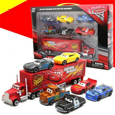 Cars 2 Lightning McQueen Racer Car&Mack Truck Kids Toy Collection Set Gifts 7PCS ()