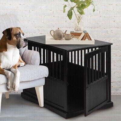- Dog Crate Wood End Table Pet Comfort Kennel Indoor Pet Furniture  Large Black