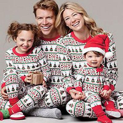 Family Matching Christmas Pajamas Sets Sleepwear Nightwear Clothing PJS Outfit