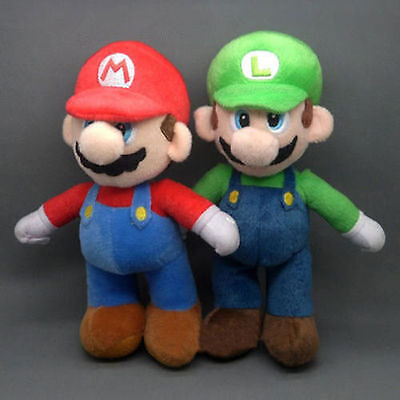 "2 Pcs Set Super Mario Bros LUIGI & MARIO Plush Doll Stuffed Toy 10"" Xmas Gift"
