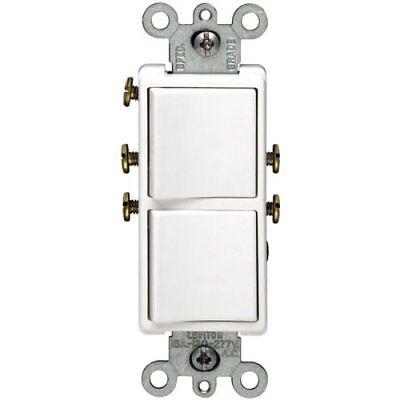 Leviton Double Combination Switch Single Pole Single Pole 15 Amp White Csa Boxed