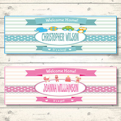 2 PERSONALISED WELCOME HOME BABY BANNERS - BOY OR GIRL](Welcome Home Baby Banner)