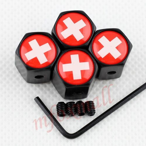 Car Accessory Antitheft Wheel Rim Air Tire Tyre Valve Stem Cap Switzerland Flag