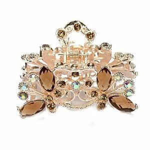 Hair Clamp Claw Clip Metal Crystal Glass Coffee Women Hot 35x65mm