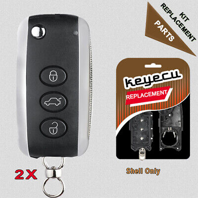 2 Replacement Remote Key Shell Case Fob for Bentley Continental GT GTC 2004-16