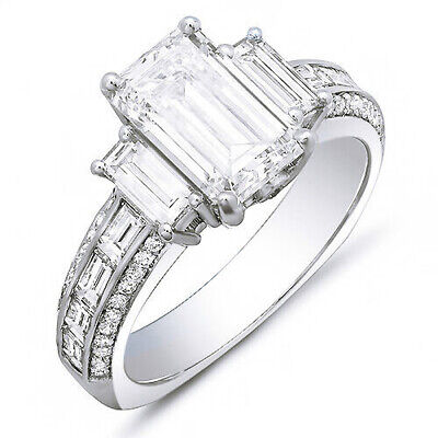 2.40 Ct. Emerald Cut, Baguette & Round Diamond Engagement Ring 14K G,VS2 GIA