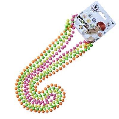 Neonfarbene Kostüme (Damen 80s Jahre halsperlen 4er Packung Neon Farben Kostüm Halskette NEU Smiffys)