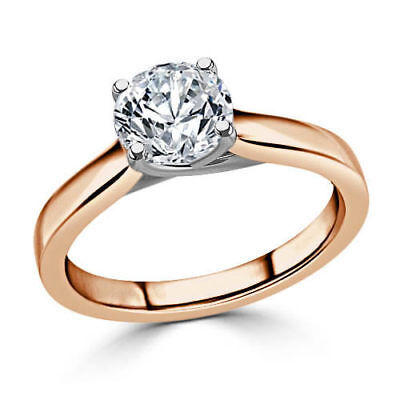 2.00Ct Round Diamond Engagement Ring 14K Rose Gold Wedding Solitaire Size 7 01 for sale  Shipping to United States