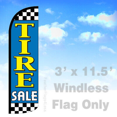 Tire Sale - Windless Swooper Flag Feather Banner Sign 3x11.5 Checker Bq