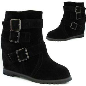 LADIES-BIKER-BOOTS-WOMENS-HIGH-HEELS-WEDGE-ANKLE-RIDING-BLACK-DESERT-SHOES-SIZE