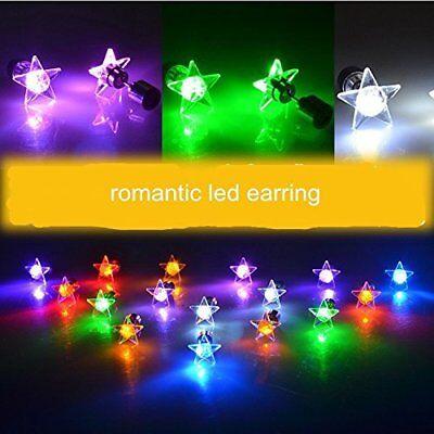 Fashion LED Light Up Bling 1Pair Ear Studs Star Earrings Earring For Dance Party - Light Up Earrings