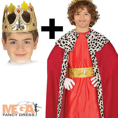 Red Wise Man + Gold Crown Boys Fancy Dress 3 Kings Christmas Nativity Costume (3 Wise Man Kostüm)