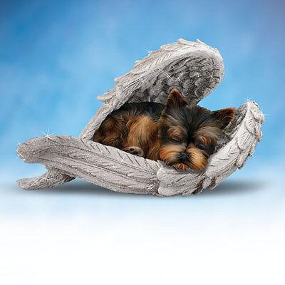 YORKIES Leave Paw Prints DOG in Angel Wings Figurine NEW