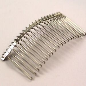 2 x silver plated metal hair comb blanks 77x37mm for Metal hair combs for crafts