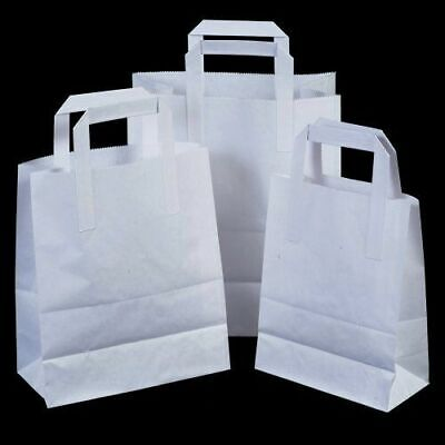 100 X Large Kraft Paper SOS Bags With Handles For Takeaway Food Carrier White UK