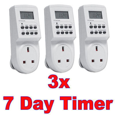 7 Day Digital LCD 3xPCElectronic Plug-in Program 12/24 Hour Timer Switch Socket