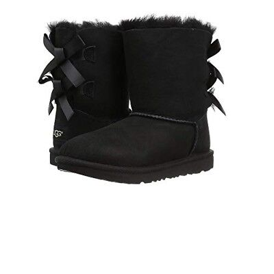UGG Kids Bailey Bow II Boot 1017394K Black Suede 100% Original Brand New (Kids Bailey Bow Uggs)