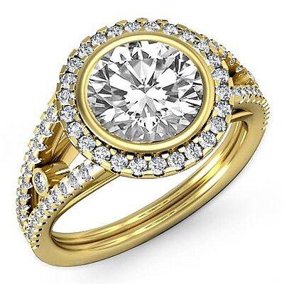 Classic Round Diamond Engagement Halo Prong Ring GIA G VS1 18k Yellow Gold 2.3ct