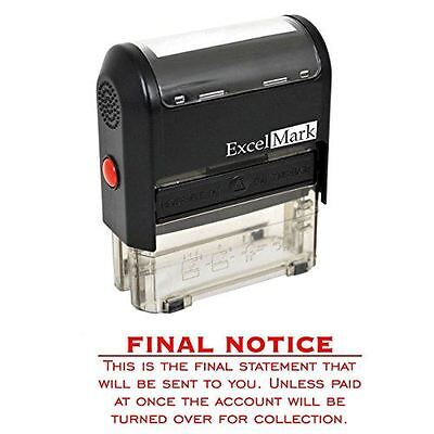 New Excelmark Final Notice Final Statement Self Inking Stamp A1848 Red Ink