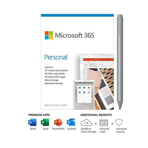 Microsoft 365 Personal 1 Yr Subscription - 1 User w/ Platinum Surface Pen