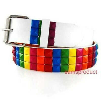 - Pyramid Studded Snap On Leather White Belt M 32 - 36 Rainbow