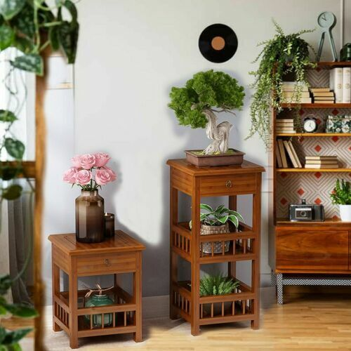 Vintage Side End Table Night Stand with Shelves & Drawer for Bedroom Living Room