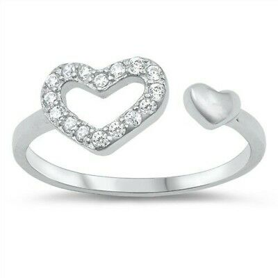 Hearts Design Toe Ring Face Height 6 mm Sterling Silver 925 Clear CZ USA Seller