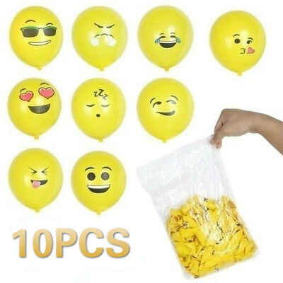 Emoji Smiley Face Latex Balloons Birthday Party Supplies Decorations  - Yellow Birthday Party Decorations