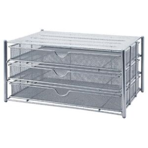 OSCO M3DS1-SLV Wire Mesh 3 Drawer Paper Sorter - Silver - Free 24h Courier - New