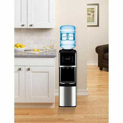 Primo Top Load Water Dispenser Stainless Steel Black Pushbutton Instant Hot Cold