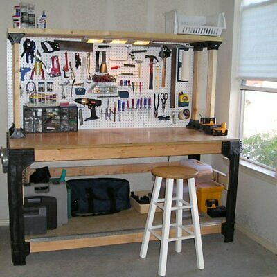Diy Wooden Table (DIY CUSTOM WORKBENCH Storage Wooden Shelf Garage Shop Workshop Table Bench)