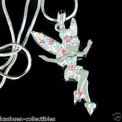 ~Rainbow TINKERBELL made with Swarovski Crystal Fairy Tinker Bell Angel Necklace