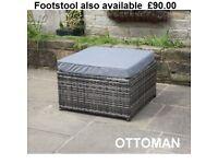 Grey Rattan Footstool Brand New in Box