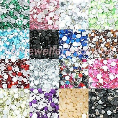 1000 Crystal Rhinestone Silver Flat Back Diamante Acrylic Gems1 3 4 5 6 8 10mm