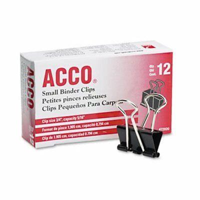 Acco Small Steel Wire Binder Clips Blacksilver 12 Clips Acc72020