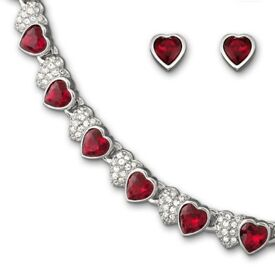 Swarovski Red hearts necklace set worth $525.00