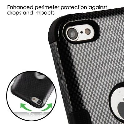 Carbon Fiber Ipod Touch Case - For iPod Touch 5th 6th 7th Gen -HYBRID HIGH IMPACT ARMOR CASE BLACK CARBON FIBER