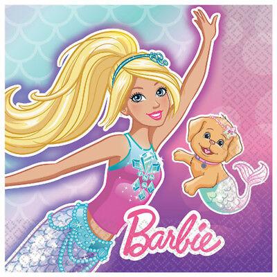 BARBIE Mermaid SMALL NAPKINS (16) ~ Birthday Party Supplies Serviettes Beverage](Barbie Napkins)