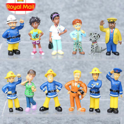 UK 12Pcs/Set Fun Fireman Sam PVC Action Figures Cartoon Doll Kids Toy Gift