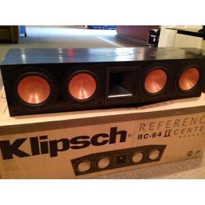klipsch reference rc64 series ii center speaker rc 64 ii brand new black 043878016346 ebay. Black Bedroom Furniture Sets. Home Design Ideas