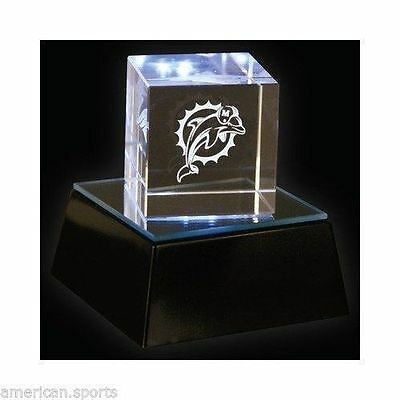 MIAMI DOLPHINS Light up Square Logo Crystal laser Cube With base. Beautiful. NEW Logo Cube Crystal
