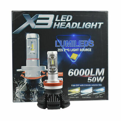 2pc X3 9005 ZES COB 50W Hi/Lo 6000LM Car LED Headlight Bulb Conversion Kit 6500K