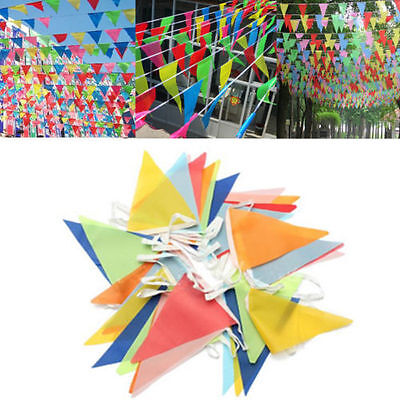 Rainbow Party Banner (10 Meter Banner Bunting Pennant Flags Party Wedding Rainbow Decor Flag)