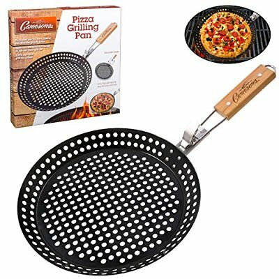 Pizza Grill Pan - Non-Stick Grilling Pan with Holes, Extra High Walls &