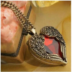 Red Heart Collar Long Necklace Gothic Victorian Jewelry