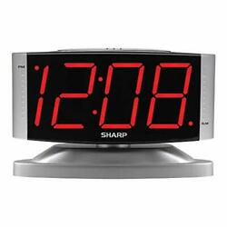 Home LED Digital Alarm Clock Swivel Base Outlet Powered Big Red Digit Display