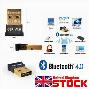 USB 2.0 Bluetooth V 4.0 Dongle Dual Mode Adapter for Win 7 8 Vista A2DP PC UK CE