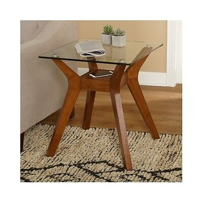 Modern End Table Walnut Finish Glass Top Mid Century Retro Accent Side (Glass Walnut End Table)