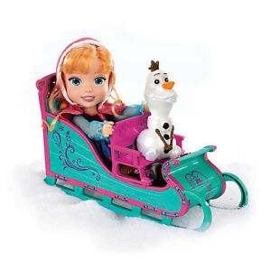Frozen Anna doll with Olaf and Sled